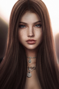 1080x1920 Brown Silky Hair Fantasy Girl 5k