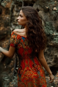 1440x2560 Brunette Looking Away Forest In Depth Of Field