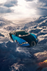 320x480 Bugatti Flying In The Sky Clouds Cityscape