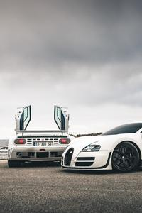 800x1280 Bugatti Veyron SS And EB110SS By The Sea 5k