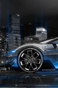 640x960 Bugatti Vision Gran Turismo Side Crystal City Night Car 4k