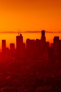 360x640 Buildings Skycrappers Smog Sunset