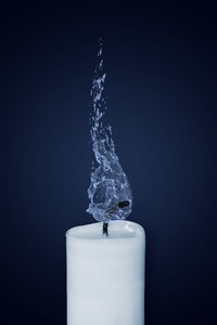 1080x2280 Candle Water Flame Illustration