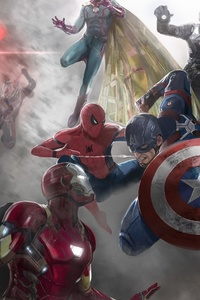 320x568 Captain America Civil War Movie Artwork