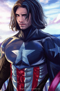 Captain America Long Hair Artwork