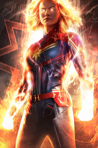 720x1280 Captain Marvel Official Art 4k