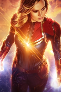 1440x2960 Captain Marvel Real 3D Poster