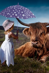 320x480 Child Cow Umbrella 5k