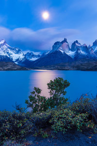 Chile Earth Lake Landscape Moon Night Twilight