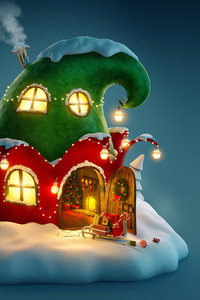 640x1136 Christmas Fairy House 4k