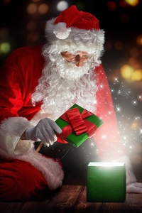 2160x3840 Christmas Santa Claus Opening Gifts