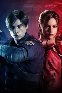 480x854 Claire Redfield And Leon Resident Evil 2 8k