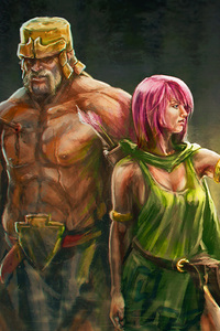 320x480 Clash Of Clans Artwork Archer And Barbarian