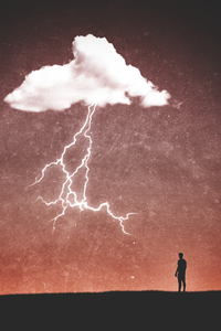 640x1136 Clouds Thunder Minimalism Person