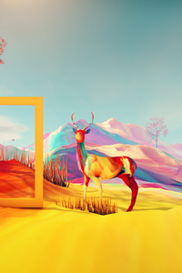 1125x2436 Colorful Digital Art Deer