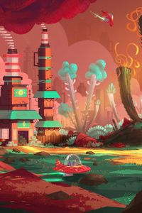 360x640 Colorful Factory Concept Art Spaceship Planet 5k