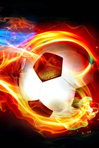 320x568 Colorful Football Flame Digital Art