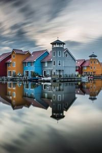 1080x2160 Colorful Hut Houses Reflection 5k