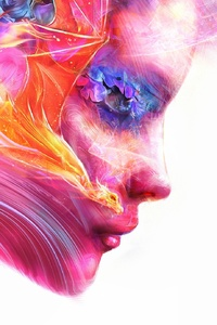 750x1334 Colorful Women Face Artwork