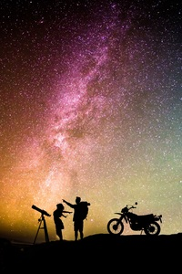2160x3840 Couple Motorcylist Telescope Aurora Sky