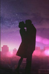 1280x2120 Couple Romantic Kissing