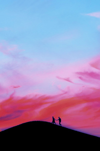 1125x2436 Couple Walking Over Moutain