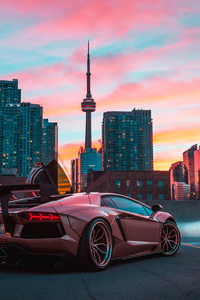 1080x1920 Custom Lamborghini Aventador In CN Tower
