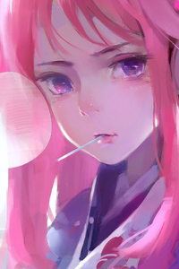 480x800 Cute Anime Girl Pink Art 4k