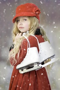 2160x3840 Cute Girl Ice Skates