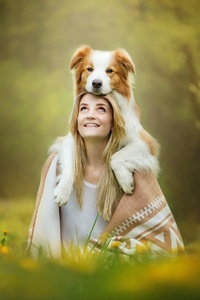240x320 Cute Girl With Dog