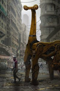 1125x2436 Cyberpunk City Giraffe Artwork