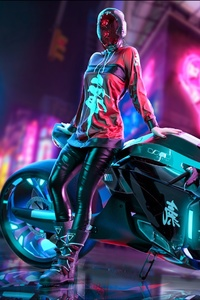 1125x2436 Cyberpunk Scifi Girl With Motorcycle