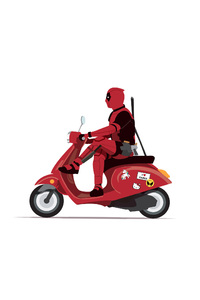 480x800 Deadpool On Scooter