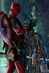 360x640 Deadpool With Captain America Shield