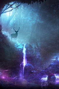 1242x2688 Deer Animal Night Fantasy Waterfall