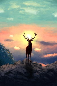 480x854 Deer Artwork 4k