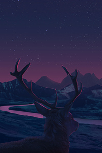 240x320 Deer Landscape Manipulation Mountains Sun Rising