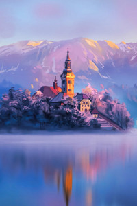 1280x2120 Digital artist Land Water Mountains Lake Slovenia