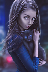 320x480 Digital Girl With Cat