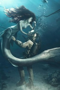 1440x2960 Diver and The Mermaid