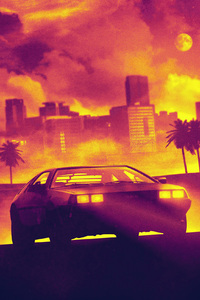 DMC DeLorean Hotline Miami Video Game Cover Art
