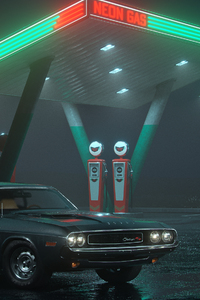 Dodge Challenger RT At Neon Gas Station