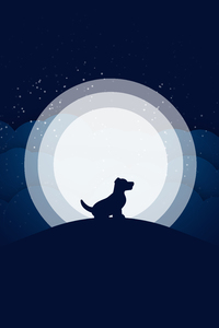 640x1136 Dog Moon Abstract 10k