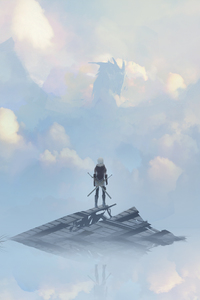 640x1136 Dragon Behind The Clouds Warrior With Sword