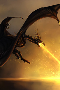 320x568 Dragon Burning Flames