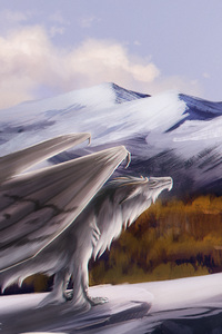 480x854 Dragon Feral Landscape Fantasy Mountain Art 5k