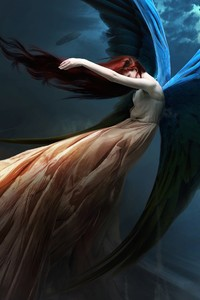 1440x2560 Fantasy Angel Redhead Wings