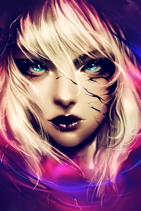 320x568 Fantasy Blonde Hair Blue Eyes Artwork
