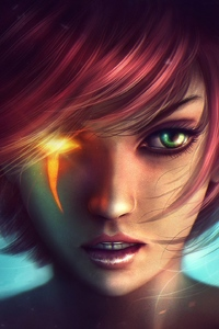 320x568 Fantasy Girl Horns Red Head Green Eyes