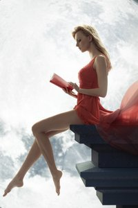 1080x1920 Fantasy Girl Sitting On Roof Reading Book Moon